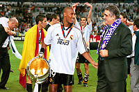 21st March 2020,  Lorenzo Sanz, ex Owner of Malaga FC and ex_President of Real Madrid has passed away in Madrid after contacting Covid-19 (Corona Virus) reported his family. Seen with Nicolas Anelka and the Champions-League-Trophy