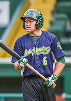 16 June 2014: Vermont Lake Monsters outfielder Ben McQuown awaits his turn in the batting cage prior to a game against the Connecticut Tigers at Centennial Field in Burlington, Vermont. The Lake Monsters fell to the Tigers 3-2 in NY Penn League action. Mandatory Credit: Ed Wolfstein Photo *** RAW Image File Available ****