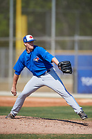 Toronto Blue Jays pitcher Connor Law (31) during a Minor League Spring Training game against the New York Yankees on March 18, 2018 at Englebert Complex in Dunedin, Florida.  (Mike Janes/Four Seam Images)