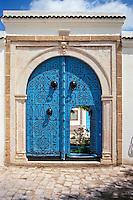 Tunisia, Sidi Bou Said.  Doorway to Courtyard.