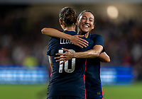 ORLANDO, FL - MARCH 05: Carli Lloyd #10 of the United States celebrates with Christen Press #23 during a game between England and USWNT at Exploria Stadium on March 05, 2020 in Orlando, Florida.