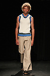 Model Lye walks runway in an outfit from the Linder Spring Summer 2017 collection by Sam Linder and Kirk Millar on July 11 2016, during New York Fashion Week Men's Spring Summer 2017.
