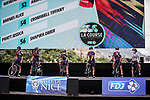 Canyon SRAM Racing at the presentation before the start of La Course By Le Tour de France 2020, running 96km from Nice to Nice, France. 29th August 2020.<br /> Picture: ASO/Thomas Maheux | Cyclefile<br /> All photos usage must carry mandatory copyright credit (© Cyclefile | ASO/Thomas Maheux)