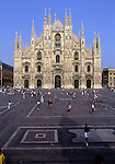 Europe, ITA, Italy, Lombardy, Milan, Typical front view of Milan Cathedral and Piazza del Duomo, Tourists ....[ For each utilisation of my images my General Terms and Conditions are mandatory. Usage only against use message and proof. Download of my General Terms and Conditions under http://www.image-box.com or ask for sending. A clearance before usage is necessary...Material is subject to royalties. Each utilisation of my images is subject to a fee in accordance to the present valid MFM-List...Contact | archive@image-box.com | www.image-box.com ]