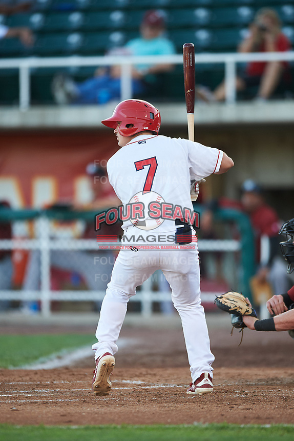 Orem Owlz Justin Kunz (7) at bat during a Pioneer League game against the Idaho Falls Chukars at The Home of the OWLZ on August 13, 2019 in Orem, Utah. Orem defeated Idaho Falls 3-1. (Zachary Lucy/Four Seam Images)