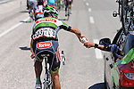 Muhammet Atalay (TUR) Torku Sekerspor fetches bidons from the team car during Stage 5 of the 2015 Presidential Tour of Turkey running 159.9km from Mugla to Pamukkale. 30th April 2015.<br /> Photo: Tour of Turkey/Mario Stiehl/www.newsfile.ie