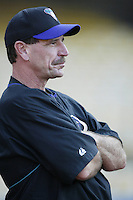 Arizona Diamondbacks Manager Bob Brenly before a 2002 MLB season game against the Los Angeles Dodgers at Dodger Stadium, in Los Angeles, California. (Larry Goren/Four Seam Images)