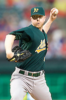 Oakland Athletics pitcher David Purcey (29) delivers against the Texas Rangers in American League baseball on May 11, 2011 at the Rangers Ballpark in Arlington, Texas. (Photo by Andrew Woolley / Four Seam Images)