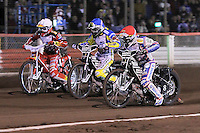 Heat 3: Jason Crump (red), Chris Holder (blue) and Andreas Jonsson (white) - Lee Richardson Memorial Speedway Meeting at Arena Essex Raceway, Purfleet - 28/09/12 - MANDATORY CREDIT: Gavin Ellis/TGSPHOTO - Self billing applies where appropriate - 0845 094 6026 - contact@tgsphoto.co.uk - NO UNPAID USE.