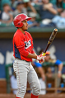 Juan Moreno (13) of the Orem Owlz at bat against the Ogden Raptors in Pioneer League action at Lindquist Field on July 29, 2016 in Ogden, Utah. Orem defeated Ogden 8-5. (Stephen Smith/Four Seam Images)