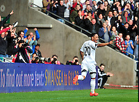 Swansea v Norwich, Liberty stadium Swansea, Saturday 29th March 2014<br /> <br /> Photographs by Amy Husband<br /> <br /> Swansea's Jonathan De Guzman scoring his second goal of the game