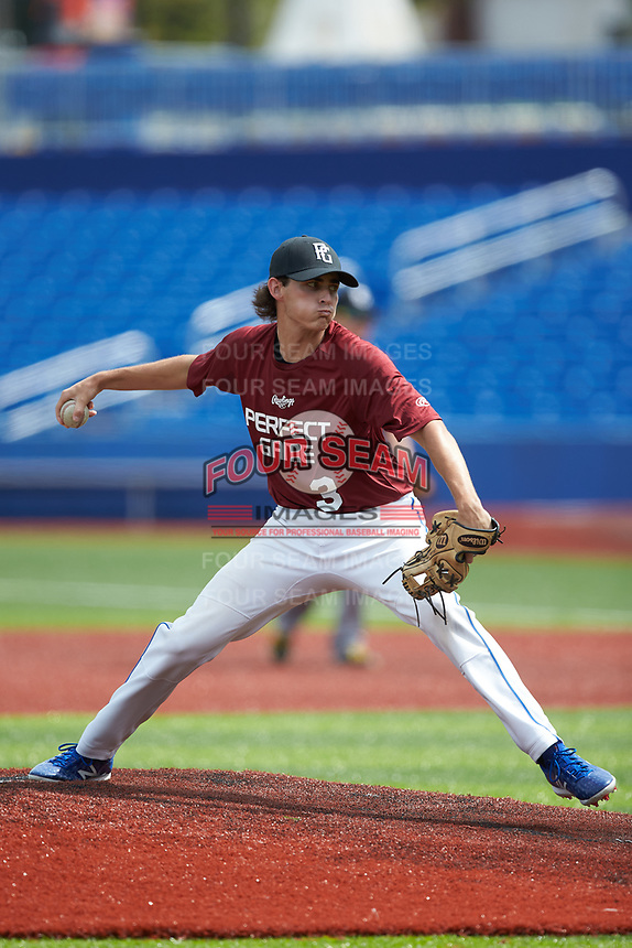 Hunter Whitten (3) of Southwest Guilford High School in High Point, NC during the Atlantic Coast Prospect Showcase hosted by Perfect Game at Truist Point on August 23, 2020 in High Point, NC. (Brian Westerholt/Four Seam Images)