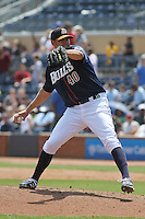 Durham Bulls Dane De La Rosa #40 on the mound during a game against the Louisville Bats at Durham Bulls Athletic Park on May 2, 2012 in Durham, North Carolina. Durham defeated Louisville by the score of 7-5. (Robert Gurganus/Four Seam Images)