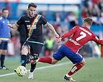 Atletico de Madrid's Antoine Griezmann (r) and Rayo Vallecano's Quini Martin during La Liga match. April 30,2016. (ALTERPHOTOS/Acero)