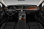 Stock photo of straight dashboard view of a 2019 Genesis G90 Ultimate 4 Door Sedan