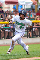 Clinton LumberKings designated hitter Joseph Rosa (22) races home during a Midwest League game against the Lansing Lugnuts on July 15, 2018 at Ashford University Field in Clinton, Iowa. Clinton defeated Lansing 6-2. (Brad Krause/Four Seam Images)