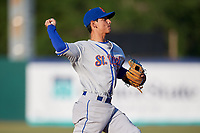St. Lucie Mets shortstop Andres Gimenez (12) throws to first base during a game against the Florida Fire Frogs on April 19, 2018 at Osceola County Stadium in Kissimmee, Florida.  St. Lucie defeated Florida 3-2.  (Mike Janes/Four Seam Images)