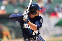 New Orleans Zephyrs outfielder Jake Marisnick #28 at bat during the Pacific Coast League baseball game against the Round Rock Express on May 4, 2014 at the Dell Diamond in Round Rock, Texas. The Express defeated the Zephyrs 15-12. (Andrew Woolley/Four Seam Images)