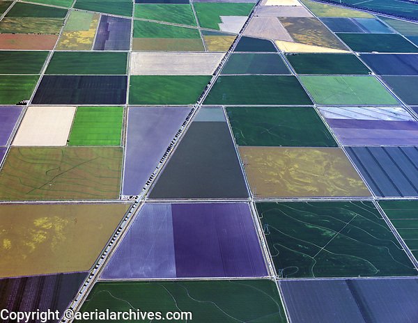 aerial photograph of the farming fields in the Central Valley, California