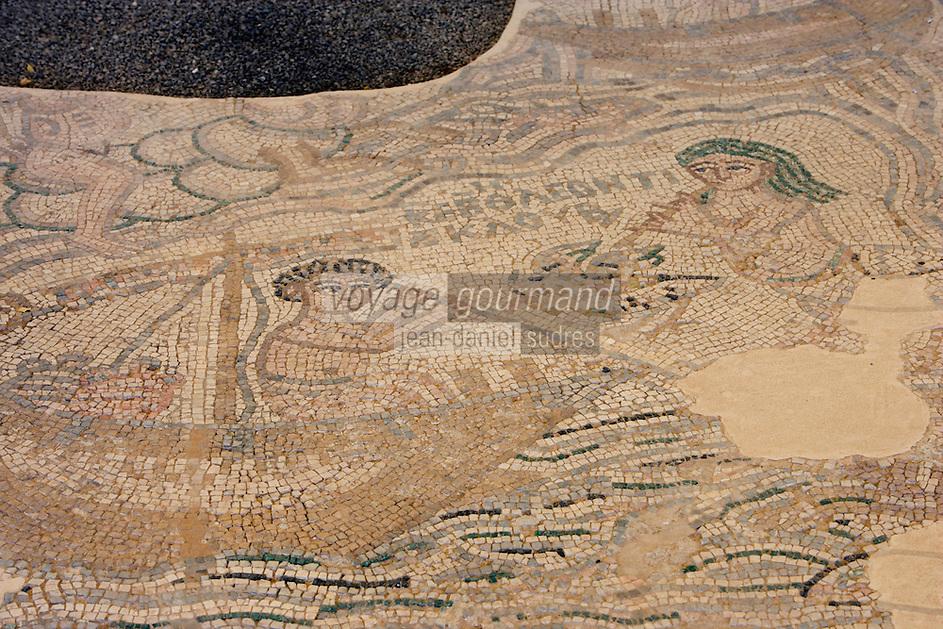 Asie/Israël/Judée/Jérusalem: Musée d'Israël - Mosaique représentant Odysséus et le Dieu du Nil Mosaique du VI siècle trouvée dans une maison Musée d'Israël