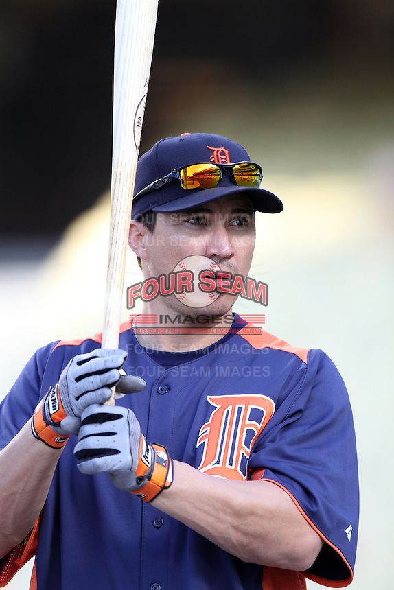 Detroit Tigers outfielder Magglio Ordonez #30 before a game against the Los Angeles Dodgers at Dodger Stadium on June 21, 2011 in Los Angeles,California. (Larry Goren/Four Seam Images)