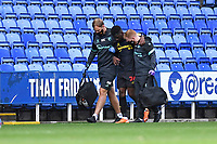 Tom Dele-Bashiru of Watford leaves the field injured during Reading vs Watford, Sky Bet EFL Championship Football at the Madejski Stadium on 3rd October 2020