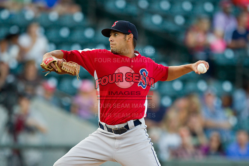 Salem Red Sox starting pitcher Miguel Pena (5) in action against the Winston-Salem Dash at BB&T Ballpark on August 15, 2013 in Winston-Salem, North Carolina.  The Red Sox defeated the Dash 2-1.  (Brian Westerholt/Four Seam Images)