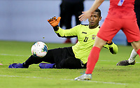 WASHINGTON, D.C. - OCTOBER 11: GK Nelson Johnston #21 of Cuba chases down a ball during their Nations League match between USA and Cuba at Audi Field, on October 11, 2019 in Washington D.C.