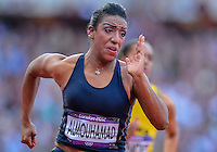 August 05, 2012: Ghfran Almouhamad of SYR competes in the round one of women's 400m hurdles at the Olympic Stadium on day nine of 2012 Olympic Games in London, United Kingdom. She was disqualified for failing the drug test..