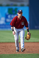 Mahoning Valley Scrappers third baseman Gavin Collins (44) during a game against the Auburn Doubledays on July 17, 2016 at Falcon Park in Auburn, New York.  Mahoning Valley defeated Auburn 3-2.  (Mike Janes/Four Seam Images)