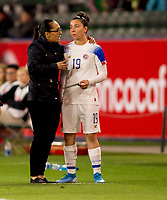 CARSON, CA - FEBRUARY 07: Amelia Valverde head coach of Costa Rica has a few words with Jazmin Elizondo #19 during a game between Canada and Costa Rica at Dignity Health Sports Complex on February 07, 2020 in Carson, California.
