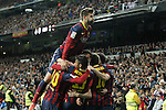 Barcelona´s Leo Messi, Neymar Jr, Jordi Alba, Gerard Pique and Xavi celebrate Leo Messi´s goal  during La Liga match in Santiago Bernabeu stadium in Madrid, Spain. March 23, 2014. (ALTERPHOTOS/Victor Blanco)