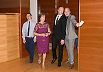 St Johnstone FC Hall of Fame Dinner, Perth Concert Hall….03.04.16<br />Steven Anderson escorts Margaret and Gary Rutherford into the concert hall whose husband and father Drew Rutherford was being Inducted into the Hall of Fame<br />Picture by Graeme Hart.<br />Copyright Perthshire Picture Agency<br />Tel: 01738 623350  Mobile: 07990 594431