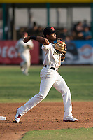 Visalia Rawhide second baseman Raymel Flores (1) turns a double play during a California League game against the Stockton Ports at Visalia Recreation Ballpark on May 8, 2018 in Visalia, California. Stockton defeated Visalia 6-2. (Zachary Lucy/Four Seam Images)