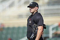Home plate umpire Tanner Moore during the South Atlantic League game between the Greensboro Grasshoppers and the Piedmont Boll Weevils at Kannapolis Intimidators Stadium on June 16, 2019 in Kannapolis, North Carolina. The Grasshoppers defeated the Boll Weevils 5-2. (Brian Westerholt/Four Seam Images)