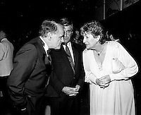 Serge Losique (L) and Cultural Affairs Minister Lise bacon (R) attend the opening of the  (Montreal) World Film Festival on August 21, 1987.<br /> <br /> File Photo : Agence Quebec Presse - Pierre Roussel