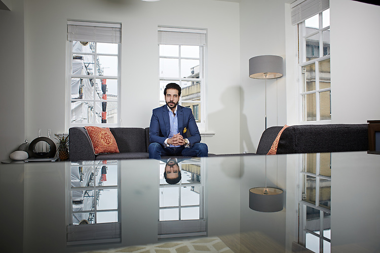 © John Angerson<br /> HIGH RES - Student Hassan Ahmed<br /> at his apartment off the Strand, London,