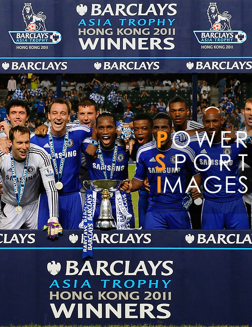 SO KON PO, HONG KONG - JULY 30: Players of Chelsea celebrate after winning the Asia Trophy final match against Aston Villa at the Hong Kong Stadium on July 30, 2011 in So Kon Po, Hong Kong.  Photo by Victor Fraile / The Power of Sport Images