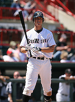 2007:  Brent Dlugach of the Erie Seawolves in between pitches during an at bat vs. the Bowie Baysox in Eastern League baseball action.  Photo by Mike Janes/Four Seam Images