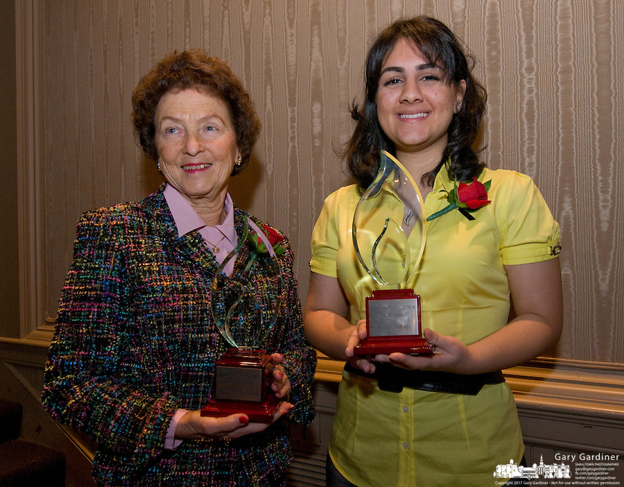 Alston Award winner Marjorie Day Lewis, left, and Fouse Student Award winner Anna Askari, pose with their awards after the Westerville, Ohio, Martin Luther King Day Celebration. Photo Copyright Gary Gardiner. Not be used without written permission detailing exact usage.