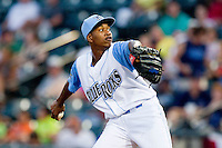 Carolina League All-Star pitcher Yordano Ventura #25 of the Wilmington Blue Rocks in action against the California League All-Stars during the 2012 California-Carolina League All-Star Game at BB&T Ballpark on June 19, 2012 in Winston-Salem, North Carolina.  The Carolina League defeated the California League 9-1.  (Brian Westerholt/Four Seam Images)