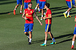 Spanish player Sergio Ramos and Marc Bartra durign the first training of the concentration of Spanish football team at Ciudad del Futbol de Las Rozas before the qualifying for the Russia world cup in 2017 August 29, 2016. (ALTERPHOTOS/Rodrigo Jimenez)