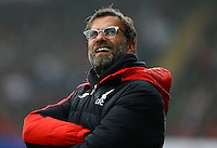 Liverpool manager Jurgen Klopp looks to the sky during the Barclays Premier League match between Swansea City and Liverpool played at the Liberty Stadium, Swansea on 1st May 2016