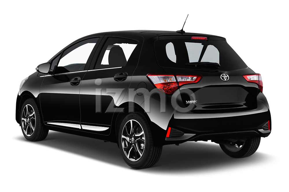 Car pictures of rear three quarter view of a 2018 Toyota Yaris Lounge 5 Door Hatchback angular rear