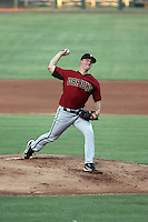 Zack Greinke of the Diamondbacks pitches in a rehab appearance in the Arizona League against the AZL Cubs at Sloan Field on July 29, 2016 in Mesa, Arizona. Greinke pitched three innings, after which the game was suspended due to rain (Bill Mitchell)