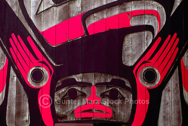 Close Up Detail of the Eagle Aerie Gallery (Artist Roy Henry Vickers) in Tofino, on Vancouver Island, British Columbia, Canada (No Property Release)