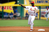 Jermaine Curtis (5) of the Springfield Cardinals throws to first base during a game against the Tulsa Drillers at Hammons Field on June 27, 2011 in Springfield, Missouri. (David Welker / Four Seam Images)