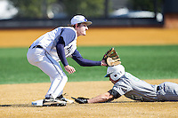 Jake Kuzbel (14) of the Georgetown Hoyas waits for a throw as Corey Bird (31) of the Marshall Thundering Herd steals second base at Wake Forest Baseball Park on February 15, 2014 in Winston-Salem, North Carolina.  The Thundering Herd defeated the Hoyas 5-1.  (Brian Westerholt/Four Seam Images)