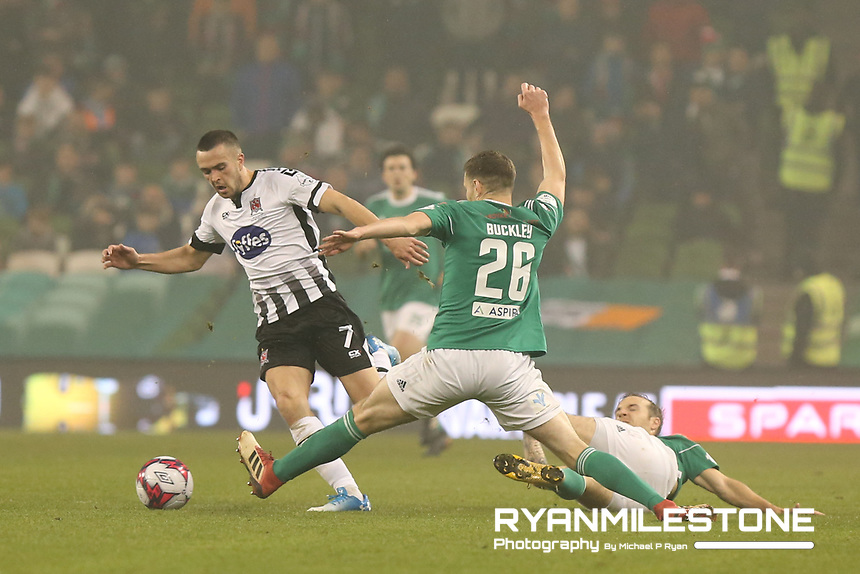 Michael Duffy of Dundalk in action against Garry Buckley of Cork City during the Irish Daily Mail FAI Cup Final between Dundalk and Cork City, on Sunday 4th November 2018, at the Aviva Stadium, Dublin. Mandatory Credit: Michael P Ryan.
