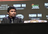 LAS VEGAS, NV - AUG 18: Manny Pacquiao at a press conference at the MGM Grand Garden Arena on August 18, 2021 for their upcoming Fox Sports PBC pay-per-view fight in Las Vegas, Nevada. Pacquaio vs Ugas pay-per-view will be on August 21 at T-Mobile Arena in Las Vegas. (Photo by Scott Kirkland/Fox Sports/PictureGroup)